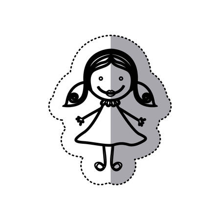 sticker sketch silhouette caricature girl with hair pigtails vector illustration Illustration