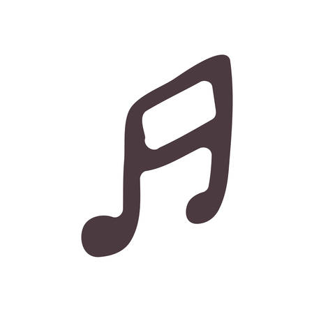 semiquaver: hand drawing silhouette musical note icon vector illustration