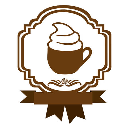 brown border heraldic decorative ribbon with cup of cappuccino with cream vector illustration