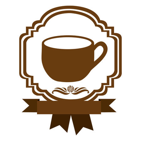 brown border heraldic decorative ribbon with cup with handle vector illustration Illustration