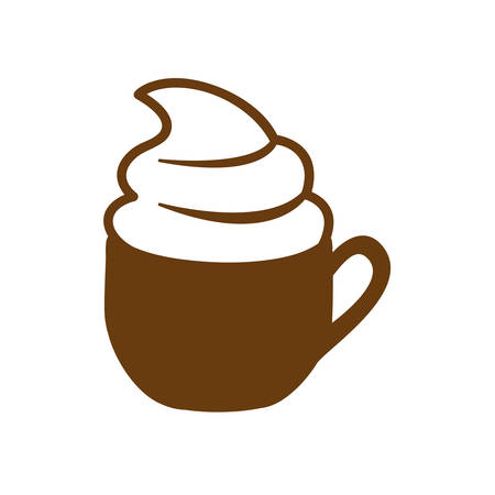 brown cup of cappuccino with cream vector illustration Illustration