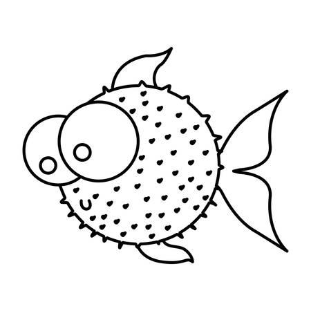 pez globo: silhouette blowfish aquatic animal icon vector illustration