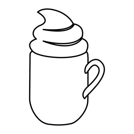 silhouette mug of cappuccino with cream vector illustration