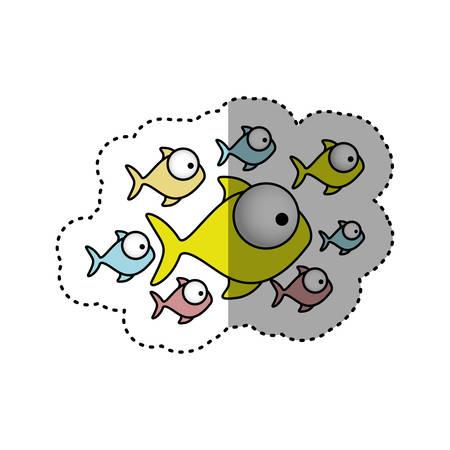 koi: sticker colorful set collection fish aquatic animal vector illustration