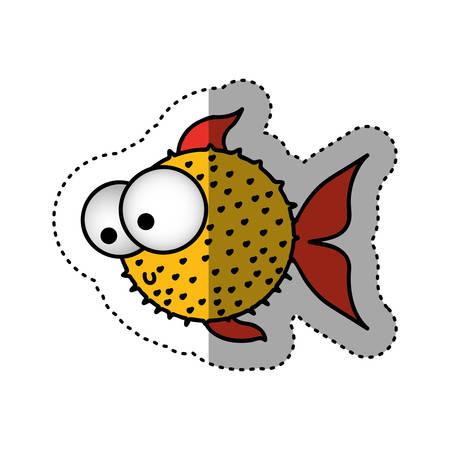 sticker colorful silhouette blowfish aquatic animal vector illustration Illustration