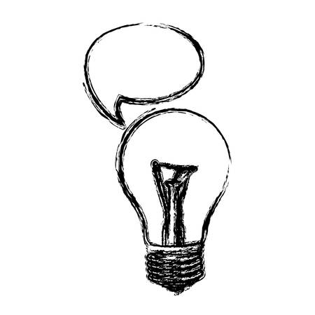 monochrome sketch of light bulb with bubble speech vector illustration Illustration