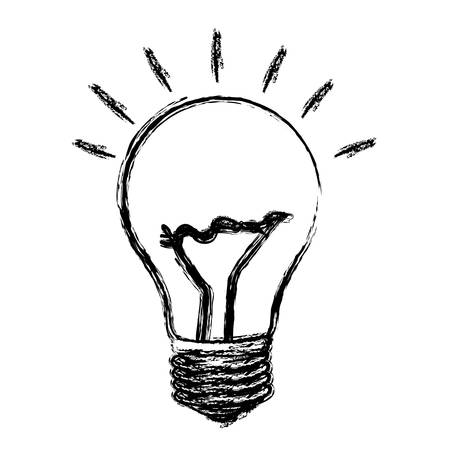 monochrome sketch with silhouette of light bulb vector illustration