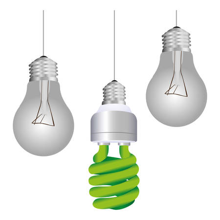 colorful silhouette with pendant light bulbs and fluorescent bulb vector illustration