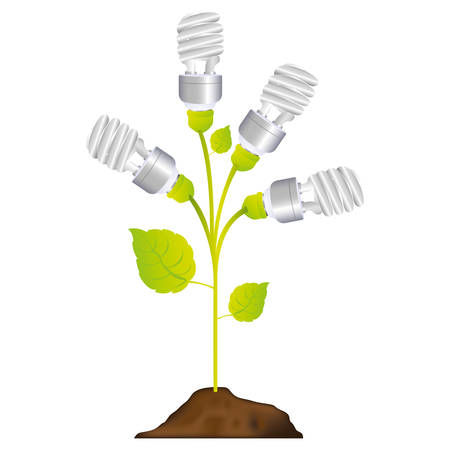 resourceful: colorful plant stem with leaves and fluorescent bulbs in spiral vector illustration Illustration