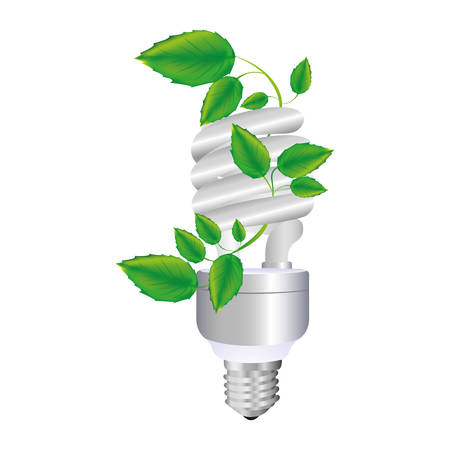 resourceful: colorful spiral fluorescent bulb with creeper plant vector illustration Illustration