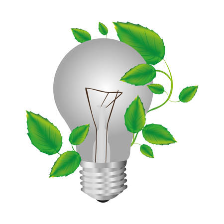 color silhouette with light bulb and creeper plant vector illustration