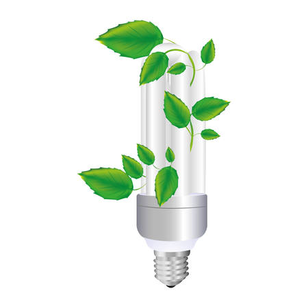 resourceful: colorful silhouette with fluorescent bulb and creeper plant vector illustration