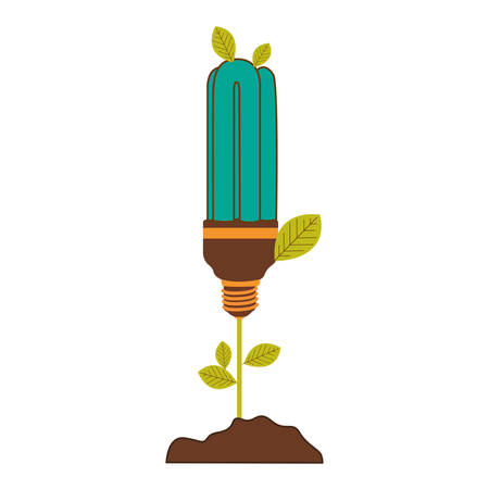 resourceful: plant stem with leaves and fluorescent bulb with light turquoise vector illustration