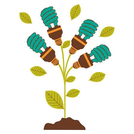 plant stem with leaves and fluorescent bulbs spiral with light turquoise vector illustration Illustration