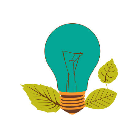 light bulb color turquoise and leaves vector illustration Illustration