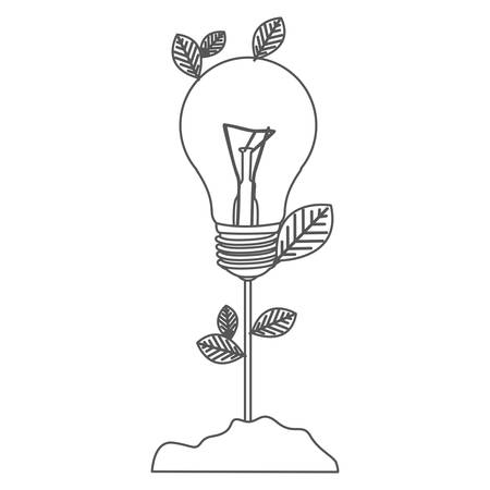 Gray scale contour with plant stem with leaves and incandescent bulb.