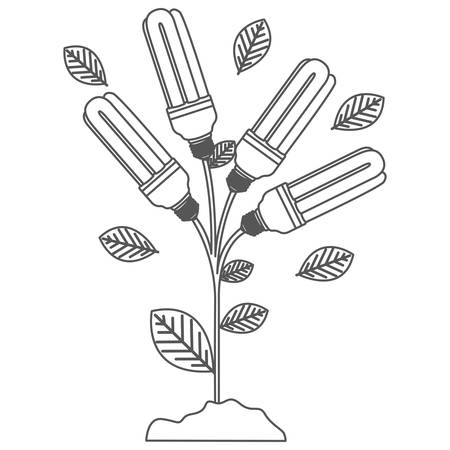 grayscale contour with plant stem with leaves and fluorescent bulbs vector illustration Illustration