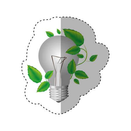 resourceful: sticker color silhouette with light bulb and creeper plant vector illustration Illustration