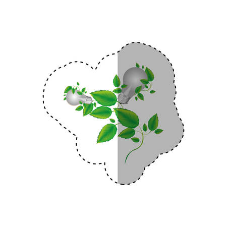 resourceful: sticker color silhouette with two light bulbs and creeper plant vector illustration Illustration