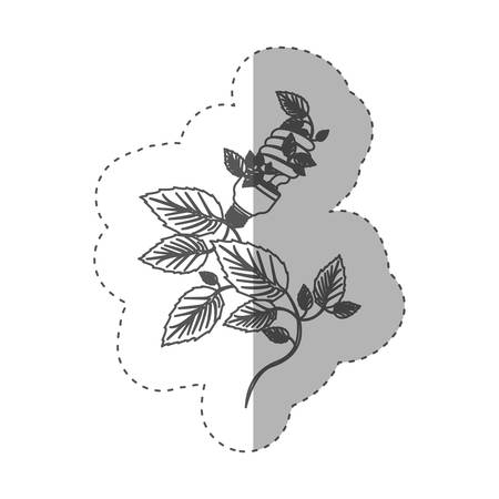 resourceful: sticker with grayscale contour with spiral fluorescent bulb and creeper plant vector illustration Illustration
