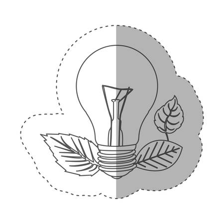 sticker with grayscale contour with light bulb and leaves vector illustration Illustration