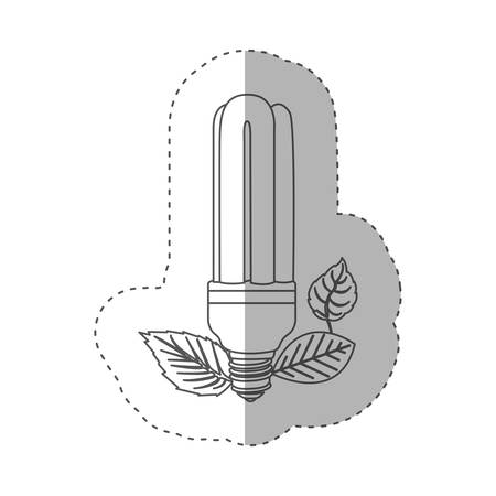 sticker with grayscale contour with fluorescent bulb and leaves vector illustration