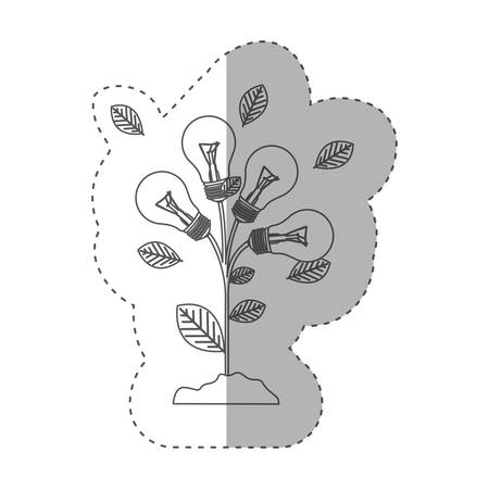 resourceful: grayscale contour with plant stem with leaves and Incandescent bulbs vector illustration