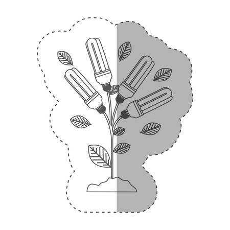 resourceful: sticker with grayscale contour with plant stem with leaves and fluorescent bulbs vector illustration
