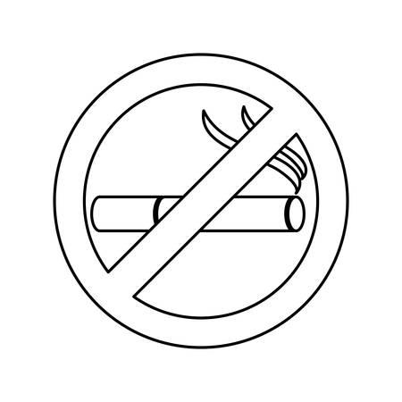 pernicious habit: monochrome silhouette of sign no smoking icon vector illustration