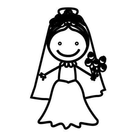 sketch silhouette woman with costume bride icon vector illustration