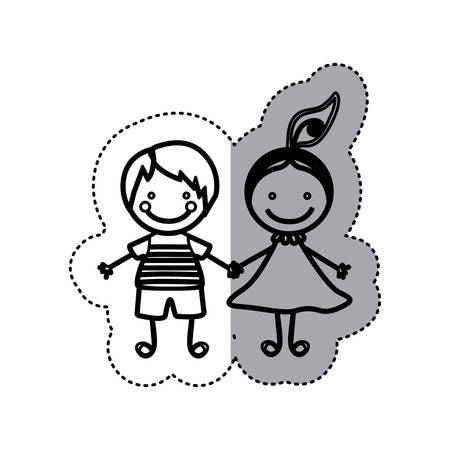 sticker sketch silhouette caricature couple boy and girl with hair tail vector illustration Illustration