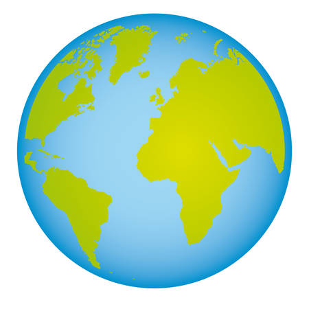 colorful earth world map with continents in 3d vector illustration