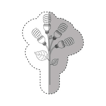 resourceful: monochrome contour sticker of spiral fluorescent bulbs with plant stem and leaves vector illustration Stock Photo