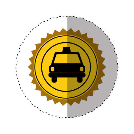 sticker color of circular seal with taxi car vector illustration Stock Photo