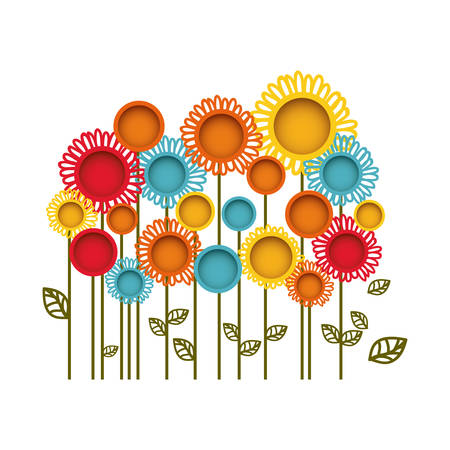 colorful flowers with leaves icon, vector illustration design Illustration