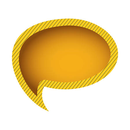 yellow chat oval bubble, vector illustration design image