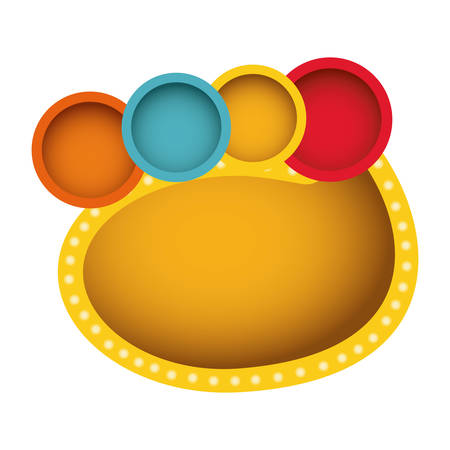 thought balloon: yellow oval bubble with circles, vector illustration design image
