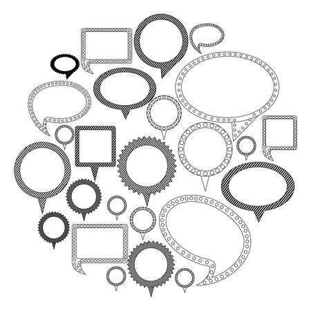 silhouette differents figures cah bubbles icon, vector illustration design Illustration