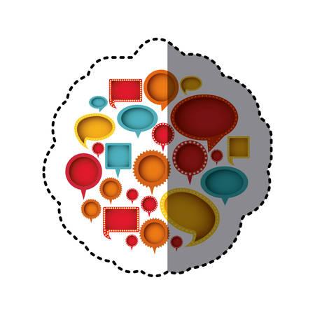 color differents figures cah bubbles icon, vector illustration design