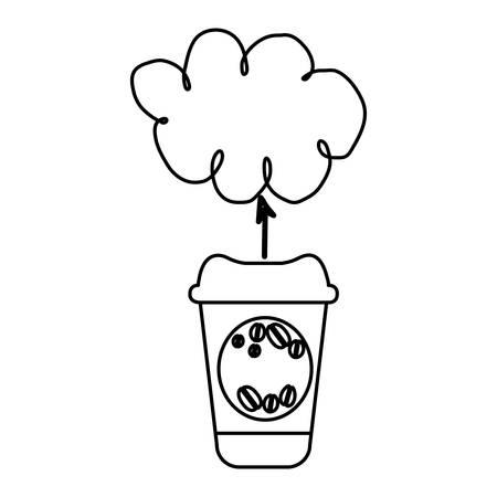figure coffee online cloud icon, vector illustration design