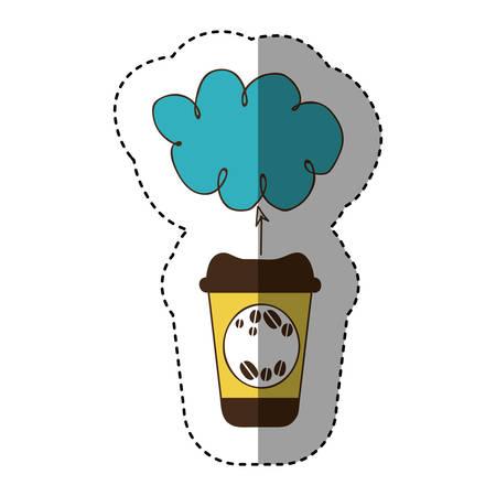 color coffee online clound icon, vector illustration design