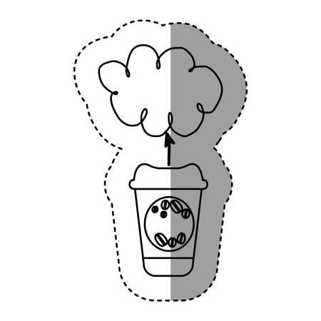 silhouette coffee online clound icon, vector illustration design Illustration