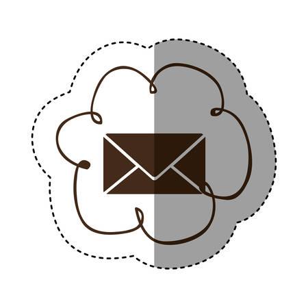 color cloud services e-mail network icon, vector illustration design Illustration