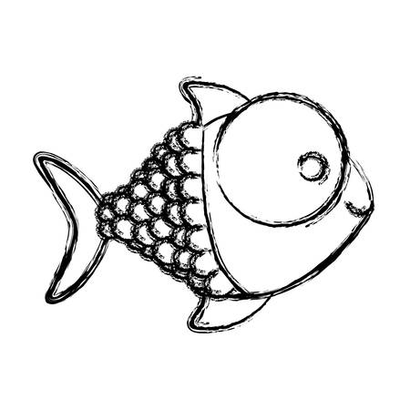 contour happy fish cartoon icon, vector illustration design
