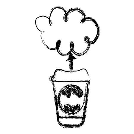 contour coffee online clound icon, vector illustration design