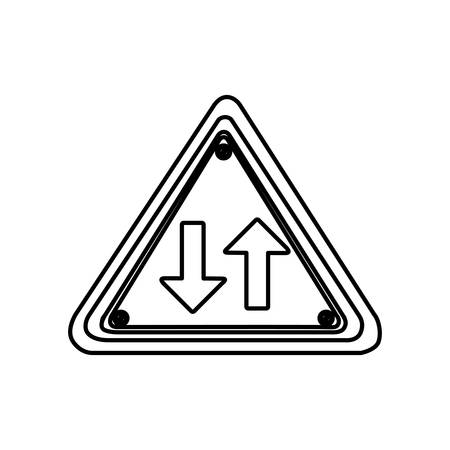 silhouette triangle shape frame two way traffic sign vector illustration Illustration