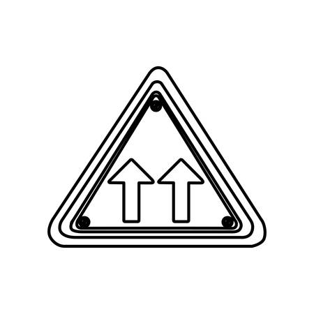 two lane highway: silhouette triangle shape frame same direction arrow road traffic sign vector illustration