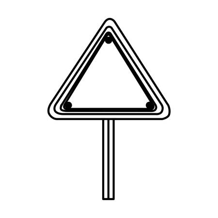 traffic pole: silhouette triangle shape traffic sign with base pole vector illustration
