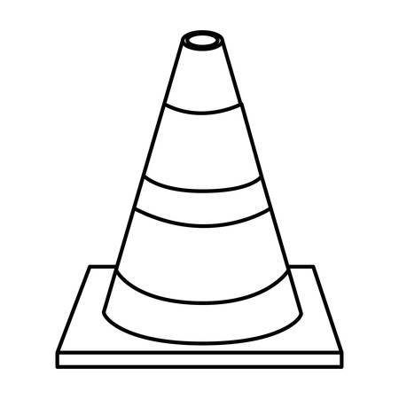 silhouette striped traffic cone flat icon vector illustration