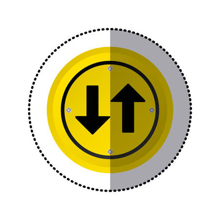sticker yellow circular frame two way traffic sign vector illustration